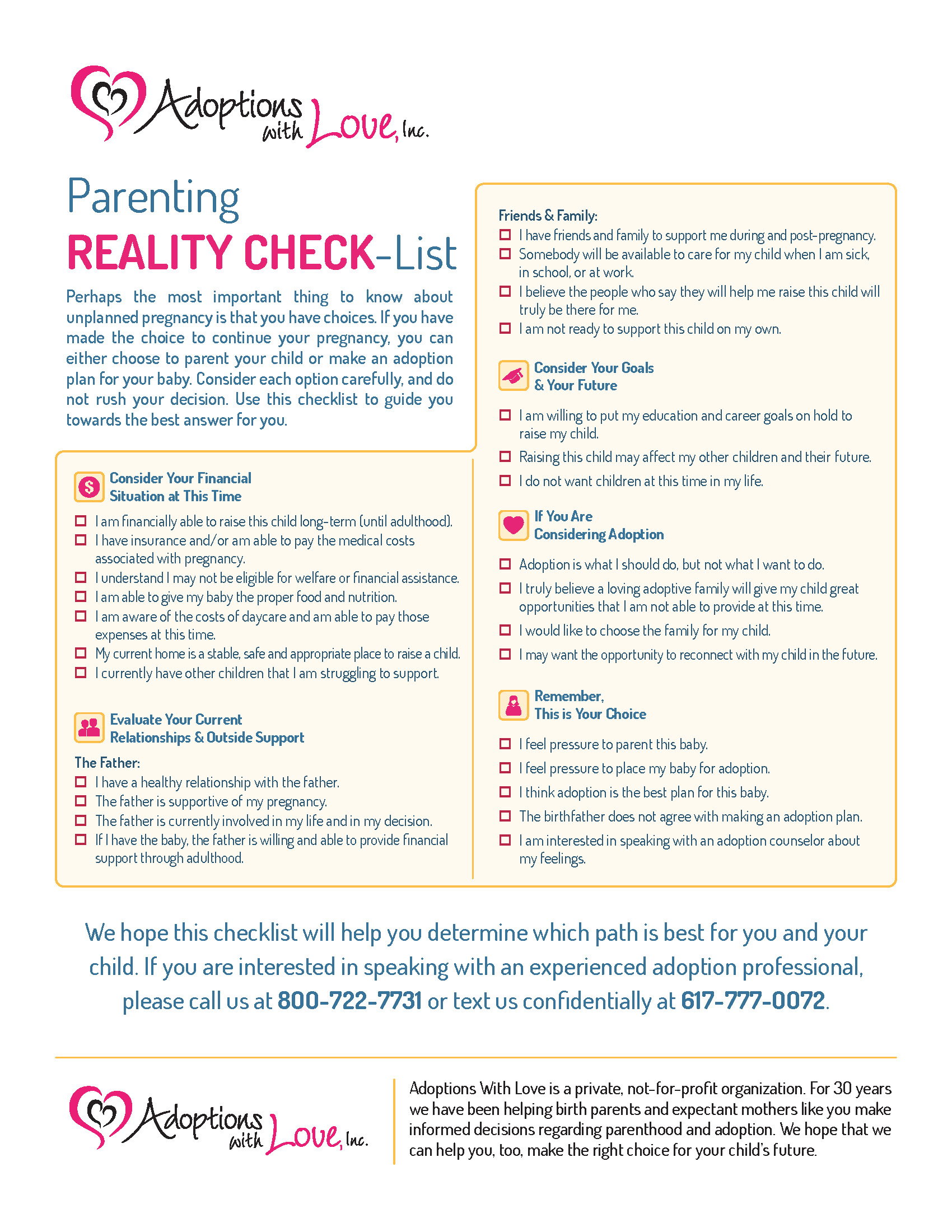 Parenting Reality Checklist | Adoptions With Love